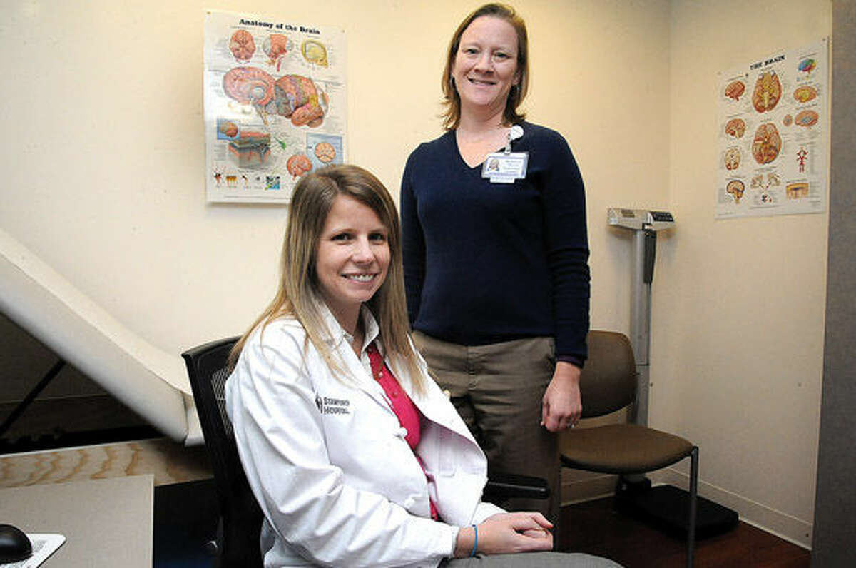 Christina B. Kunec and Rebecca Peterson of Stamford Hospital's Orthopaedic and Spine Institute at Chelsea Piers in Stamford.