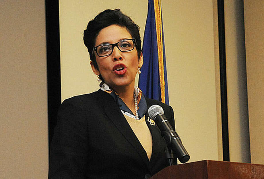 Girl Scouts of the USA CEO Anna  Chavez speaks about leadership in a not-so-civil world Tuesday night at The Ferguson Library.