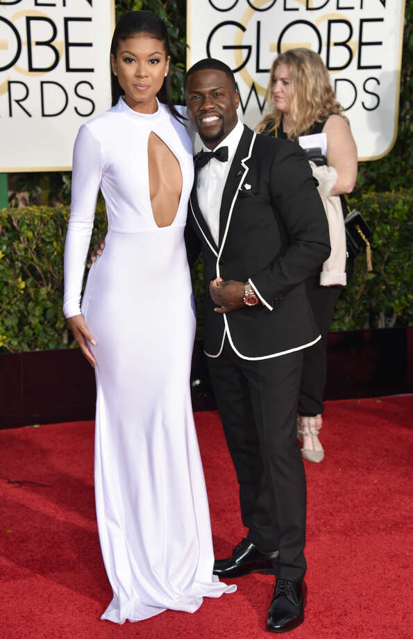 Eniko Parrish, left, and Kevin Hart arrive at the 72nd annual Golden Globe Awards at the Beverly Hilton Hotel on Sunday, Jan. 11, 2015, in Beverly Hills, Calif. (Photo by John Shearer/Invision/AP)