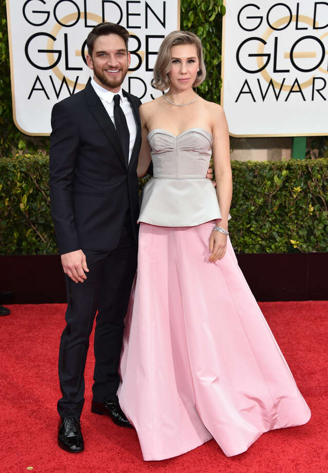 Evan Jonigkeit, left, and Zosia Mamet arrive at the 72nd annual Golden Globe Awards at the Beverly Hilton Hotel on Sunday, Jan. 11, 2015, in Beverly Hills, Calif. (Photo by John Shearer/Invision/AP)