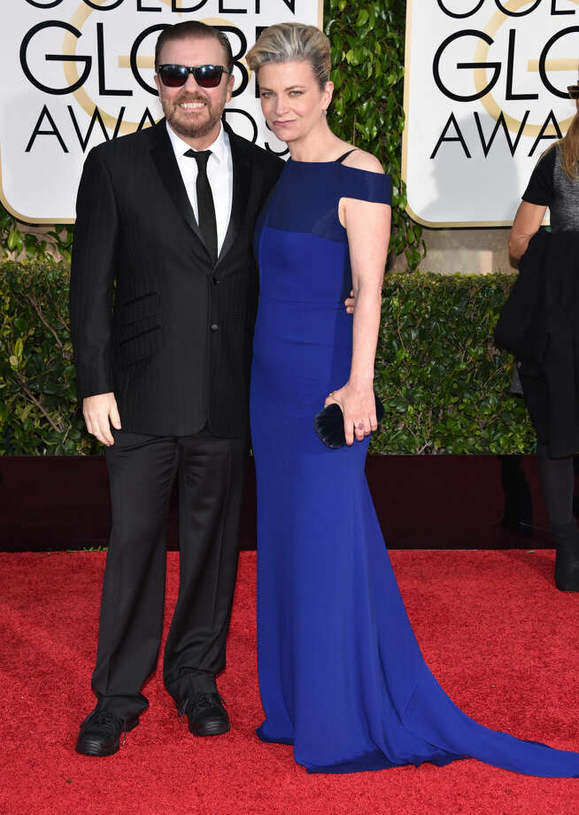 Ricky Gervais, left, and Jane Fallon arrive at the 72nd annual Golden Globe Awards at the Beverly Hilton Hotel on Sunday, Jan. 11, 2015, in Beverly Hills, Calif. (Photo by John Shearer/Invision/AP)
