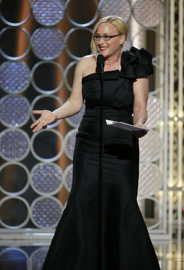"In this image released by NBC, Patricia Arquette accepts the award for best supporting actress in a film for her role in ""Boyhood"" at the 72nd Annual Golden Globe Awards on Sunday, Jan. 11, 2015, at the Beverly Hilton Hotel in Beverly Hills, Calif. (AP Photo/NBC, Paul Drinkwater)"