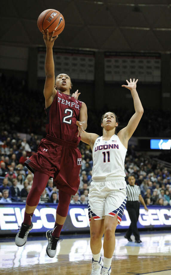 Temple's Feyonda Fitzgerald (2) shoots as Connecticut's Kia Nurse (11) defends in the first half of an NCAA college basketball game, Saturday, Jan. 16, 2016, in Storrs, Conn. (AP Photo/Jessica Hill)