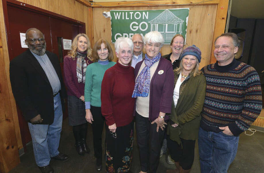 Photo by Alex von KleydorffPictured up front are: Wilton Go Green President Karen Stanley and Jana Bertkau; in the back row from left to right are: the Rev. Arnold Thomas, Daphne Dixon, Debbie Hunsberger, Jerry Goodwin, Beky Bunnell, Patrice Gilespie and Daryl Hawk.