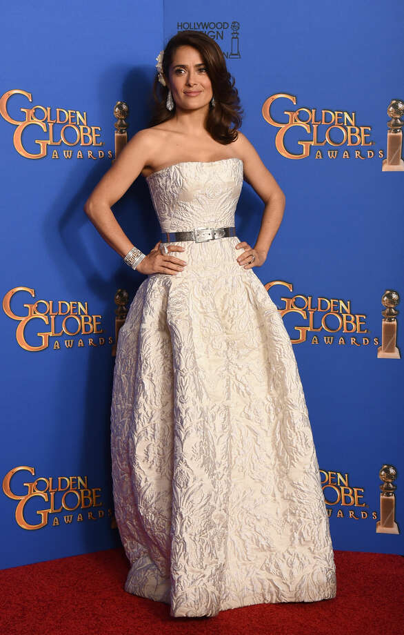 Salma Hayek poses in the press room at the 72nd annual Golden Globe Awards at the Beverly Hilton Hotel on Sunday, Jan. 11, 2015, in Beverly Hills, Calif. (Photo by Jordan Strauss/Invision/AP)