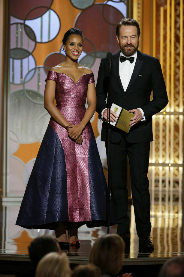 In this image released by NBC, Kerry Washington, left, and Bryan Cranston present an award at the 72nd Annual Golden Globe Awards on Sunday, Jan. 11, 2015 at the Beverly Hilton Hotel in Beverly Hills, Calif. (AP Photo/NBC, Paul Drinkwater)