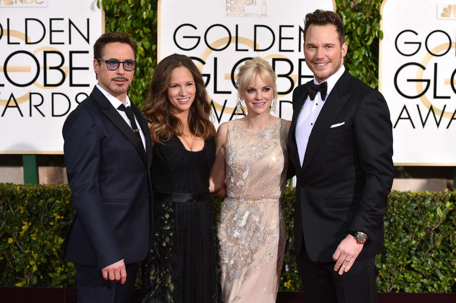 Robert Downey Jr., from left, Susan Downey, Anna Faris and Chris Pratt arrive at the 72nd annual Golden Globe Awards at the Beverly Hilton Hotel on Sunday, Jan. 11, 2015, in Beverly Hills, Calif. (Photo by John Shearer/Invision/AP)