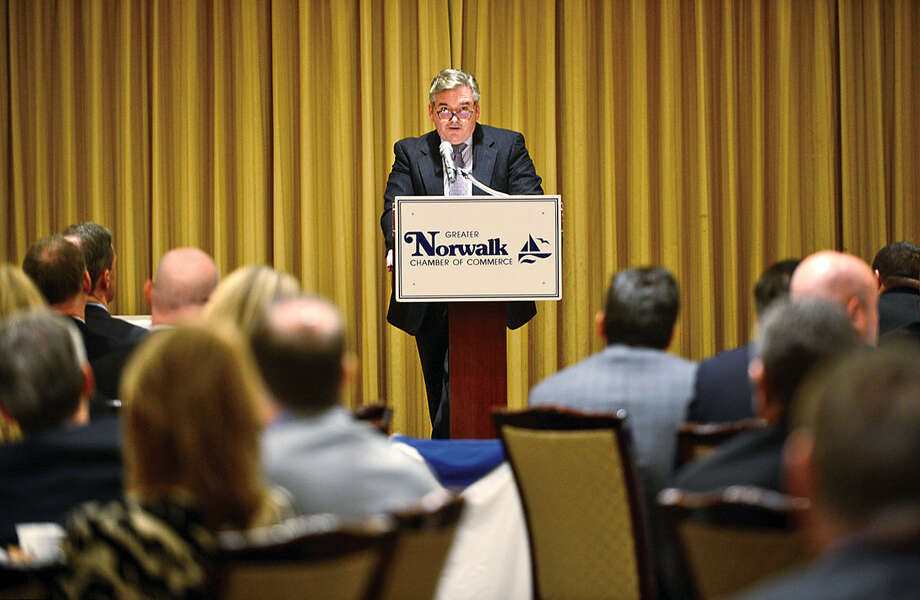 Hour photo / Erik Trautmann Timothy T. Sheehan, Executive Director Norwalk Redevelopment Ageny, speaks during the Greater Norwalk Chamber of Commerce 2016 Economic Outlook & Development Review Luncheon at the Norwalk Inn Tuesday.