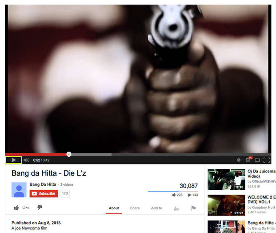 "This image made from the YouTube website shows a still frame of the music video ""Die L'z"" by Bang Da Hitta posted on Aug. 8, 2013 with a man pointing a weapon at the camera. From the video, police in Chicago police identified two of those in the video as felons who are prohibited from being around guns. Both were later taken into custody. (AP Photo) / YouTube"