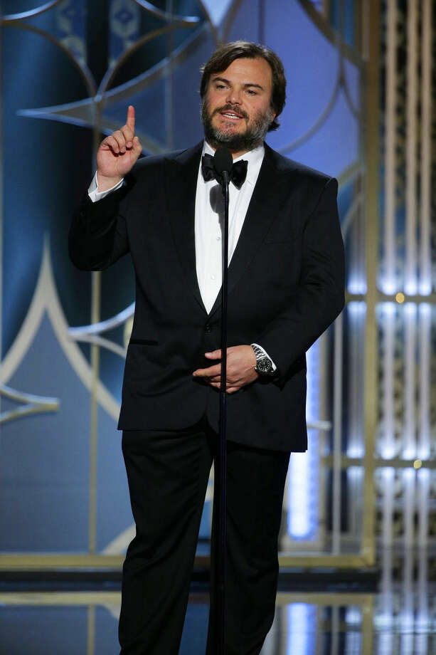 In this image released by NBC, Jack Black speaks at the 72nd Annual Golden Globe Awards on Sunday, Jan. 11, 2015, at the Beverly Hilton Hotel in Beverly Hills, Calif. (AP Photo/NBC, Paul Drinkwater)