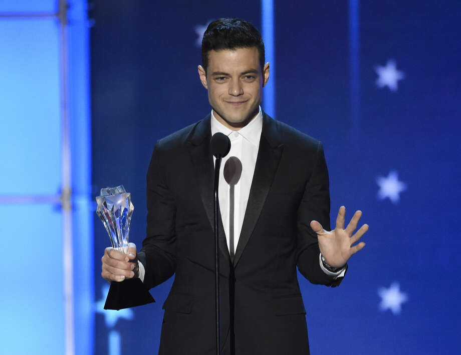 "Rami Malek accepts the award for best actor in a drama series for ""Mr. Robot"" at the 21st annual Critics' Choice Awards at the Barker Hangar on Sunday, Jan. 17, 2016, in Santa Monica, Calif. (Photo by Chris Pizzello/Invision/AP)"