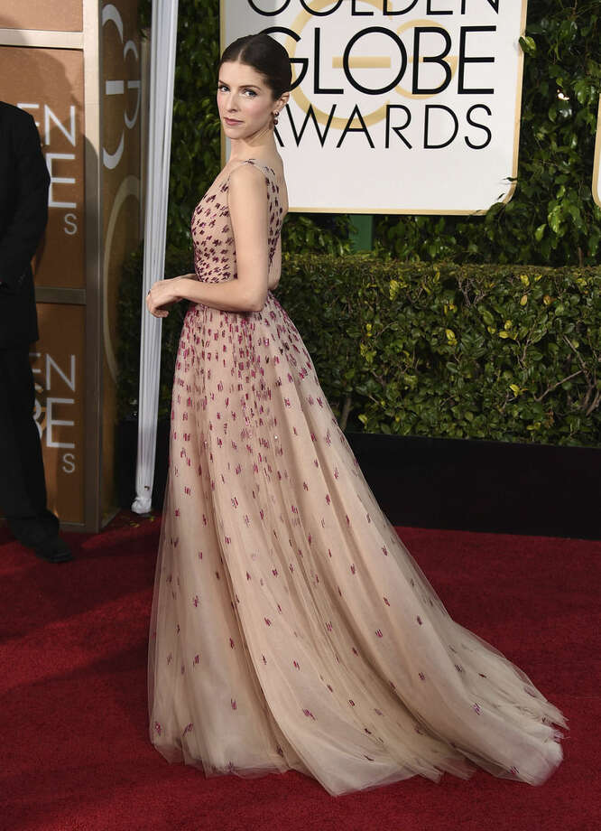 Anna Kendrick arrives at the 72nd annual Golden Globe Awards at the Beverly Hilton Hotel on Sunday, Jan. 11, 2015, in Beverly Hills, Calif. (Photo by Jordan Strauss/Invision/AP)