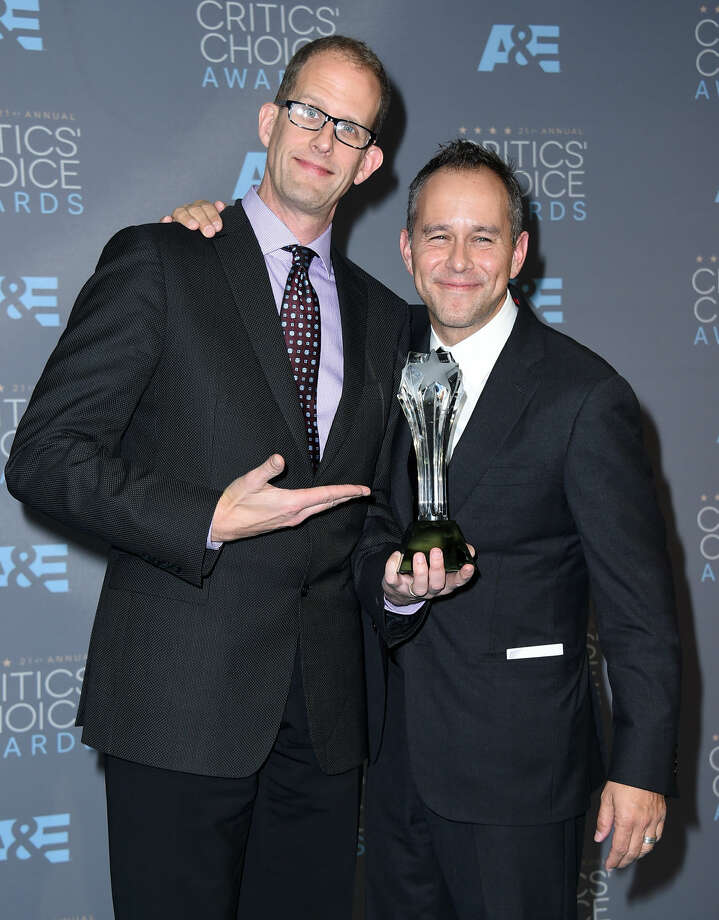 "Pete Docter, left, and Jonas Rivera pose in the press room with the award for best animated feature for ""Inside Out"" at the 21st annual Critics' Choice Awards at the Barker Hangar on Sunday, Jan. 17, 2016, in Santa Monica, Calif. (Photo by Jordan Strauss/Invision/AP)"