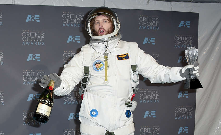 Host T.J. Miller poses in the press room at the 21st annual Critics' Choice Awards at the Barker Hangar on Sunday, Jan. 17, 2016, in Santa Monica, Calif. (Photo by Jordan Strauss/Invision/AP)
