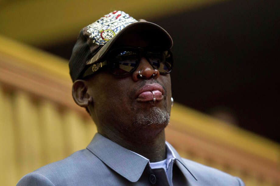 Dennis Rodman, looks out at the court at the end of an exhibition basketball game with U.S. and North Korean players at an indoor stadium in Pyongyang, North Korea on Wednesday, Jan. 8, 2014. (AP Photo/Kim Kwang Hyon) / AP