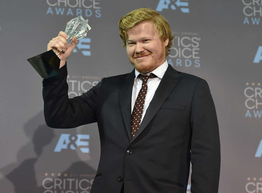 """Jesse Plemons poses in the press room with the award for best supporting actor in a television movie or limited series for """"Fargo"""" at the 21st annual Critics' Choice Awards at the Barker Hangar on Sunday, Jan. 17, 2016, in Santa Monica, Calif. (Photo by Jordan Strauss/Invision/AP)"""