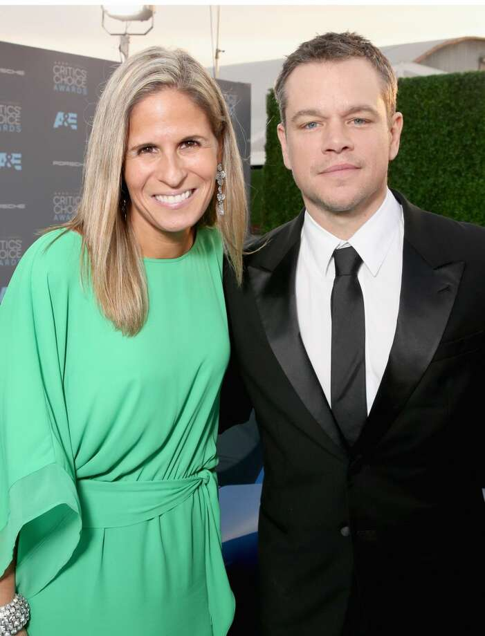 The 2017 Porsche 911 made its red carpet appearance at one of the Hollywood industry's most high-profile events, the 21st Annual Critics' Choice Awards. (Porsche's Cristina Cheever (left) with actor Matt Damon) (PRNewsFoto/Porsche Cars North America, Inc.)
