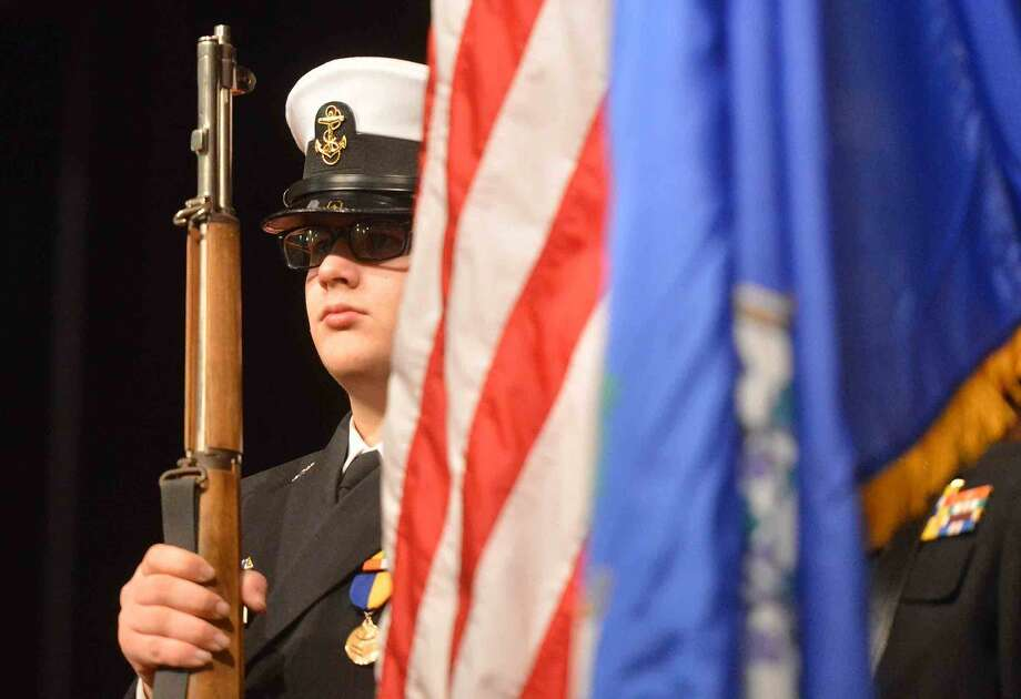 Hour Photo/Alex von Kleydorff The Brien McMahon NJROTC Posts the Colors at West Rocks School Rev. Dr. Martin Luther King Jr. Celebration, Renewing The Dream: Hope in Today's Times