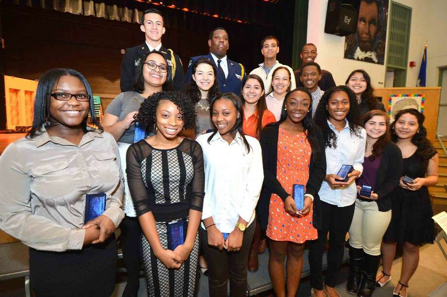 Hour Photo/Alex von Kleydorff Recipients of the Student Service Awards from Briggs, Brien McMahon and Norwalk High School's at West Rocks School Rev. Dr. Martin Luther King Jr. Celebration, Renewing The Dream: Hope in Today's Times