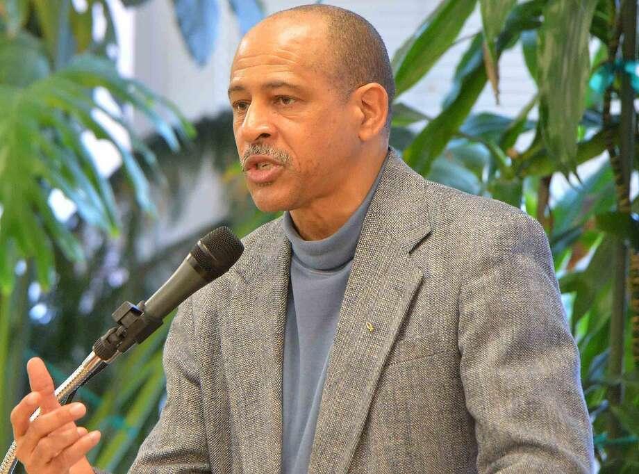 Hour Photo/Alex von Kleydorff Rev. Dr. Jeffrey Ingram, Pastor Calvary Baptist Church, speaks during the Norwalk Community Breakfast in Observance of Rev. Dr. Martin Luther King Jr.