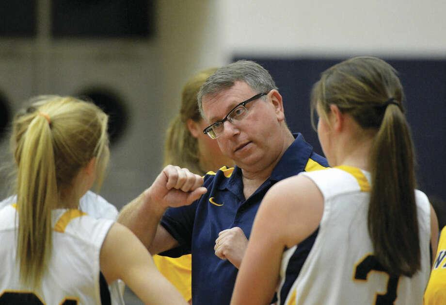 Hour Photo/Alex von Kleydorff. Westons Girls Basketball coach Dan Rosen