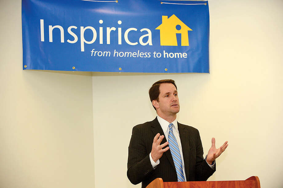 Hour photo / Erik Trautmann Congressman Jim Himes speaks during an opening reception for Inspirica's new Early Childhood and Parenting Program.