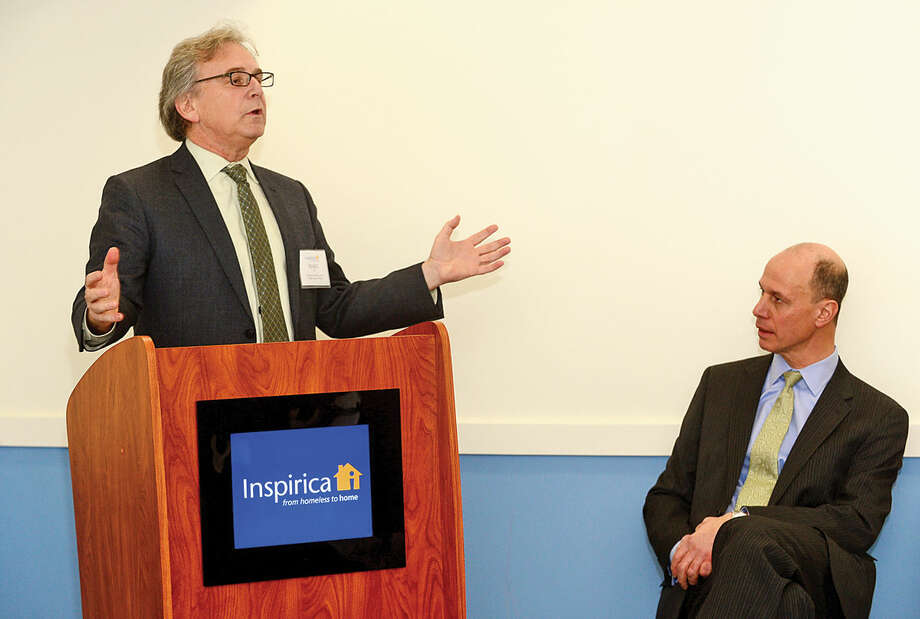 Hour photo / Erik Trautmann Childcare Learning Center CEO Marc Jaffe and Inspirica CEO Jason Shaplen attend an opening reception for Inspirica's new Early Childhood and Parenting Program.