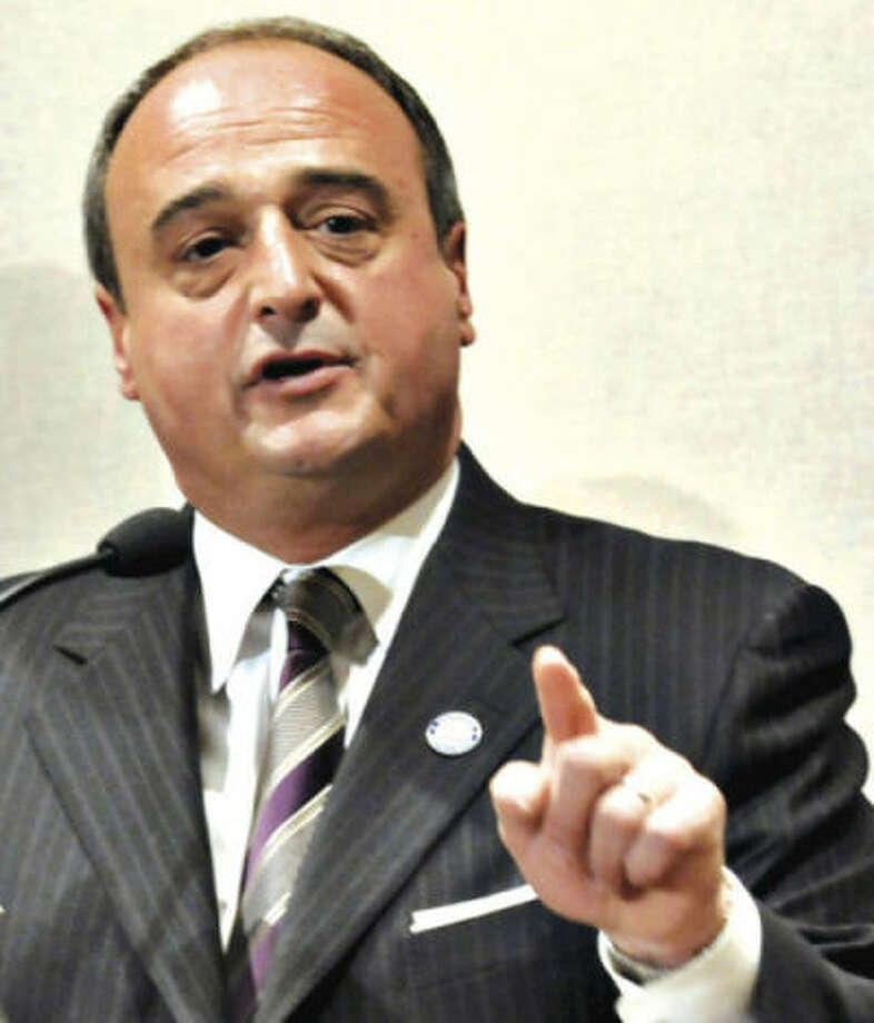 AP file photo / Jessica HillThis March 10, 2009 file photo shows Connecticut House Minority Leader Lawrence Cafero Jr., R-Norwalk speaking at a press conference at the Legislative Office Building in Hartford.