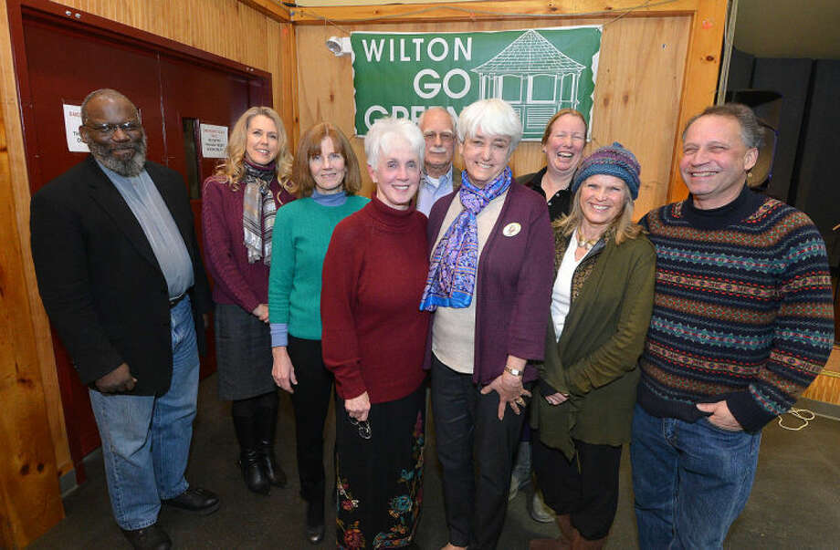 Pictured up front are: Wilton Go Green President Karen Stanley and Jana Bertkau; in the back row from left to right are: the Rev. Arnold Thomas, Daphne Dixon, Debbie Hunsberger, Jerry Goodwin, Beky Bunnell, Patrice Gilespie and Daryl Hawk.
