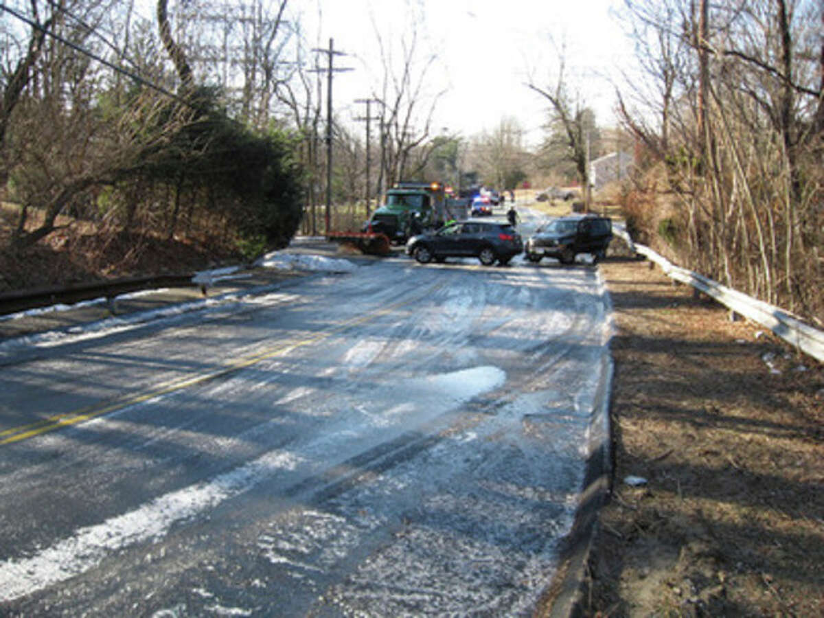 Submitted photo A DPW plow, who was addressing the icing issue -- along with two other vehicles -- were involved in the accident Thursday.