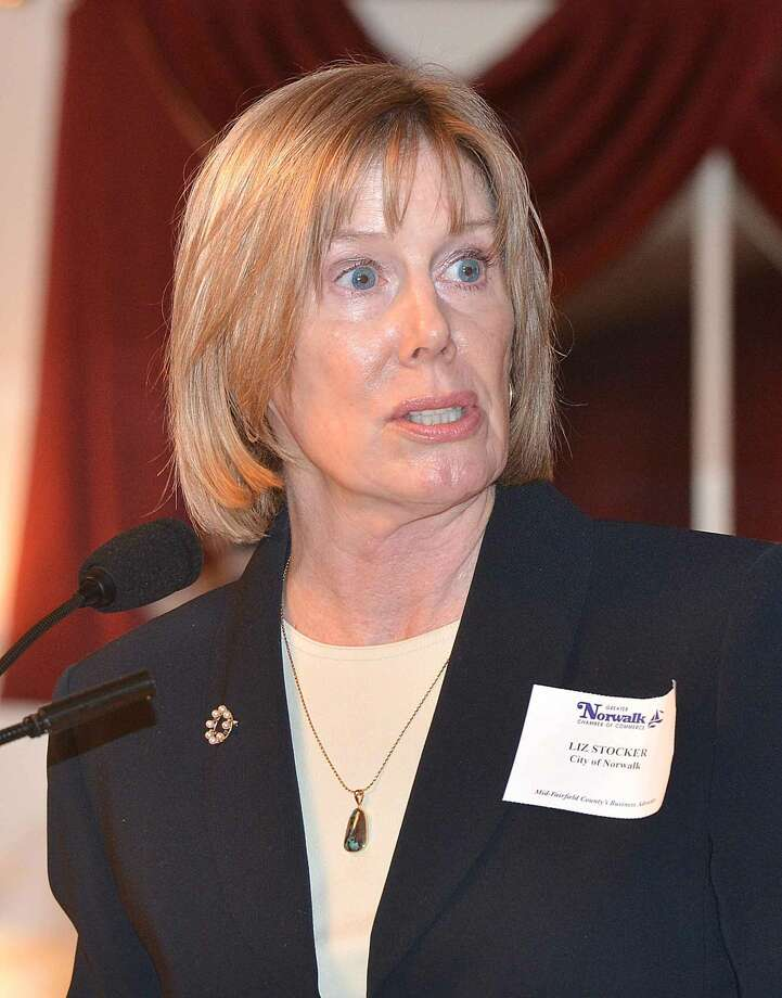 Hour Photo/Alex von Kleydorff Elizabeth Stocker, Director of Economic Development, City of Norwalk speaks during the Greater Norwalk Chamber of Commerce 2015 Economic Outlook and Development Review