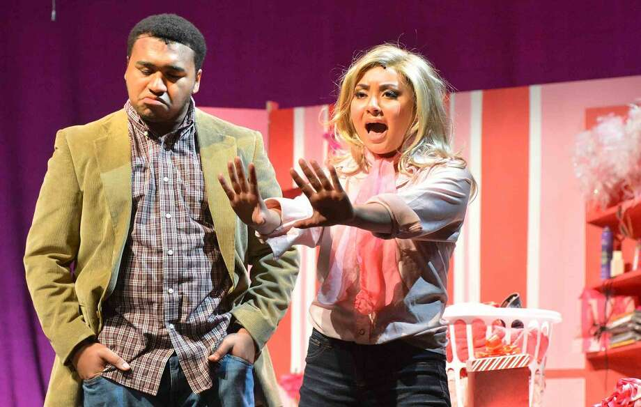 Hour Photo/Alex von Kleydorff Sophie Starkman as Elle Woods and Thomas Purvis as Emmet Forrest in Brien McMahons production of Legally Blonde