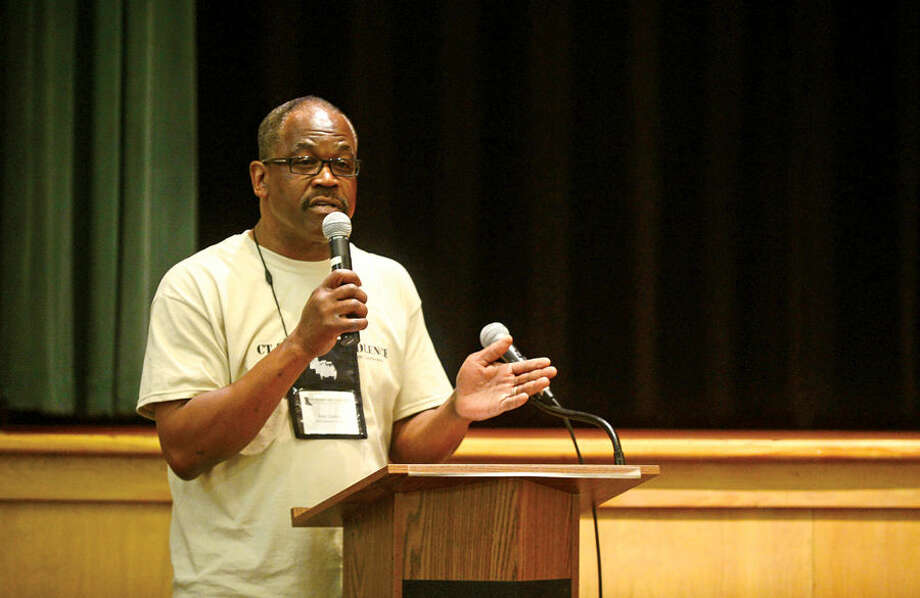 Hour photo / Erik Trautmann Ray Dancy, Executive Director of Serving All Vessels Equally, Inc., (SAVE), convenes the first CT Stomp the Violence Conference Saturday at West Rocks School. The conference seeks to foster a regional conversation about youth and gang violence and raise awareness about the problem. The Conference also seeks to enable local communities to more effectively address youth violence through comprehensive planning and the sharing of common challenges and strategies.