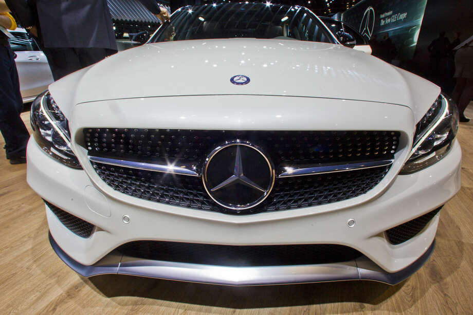 The bonnet of a Mercedes-Benz C450 AMG on display at the North American International Auto Show, Monday, Jan. 12, 2015, in Detroit. (AP Photo/Tony Ding)