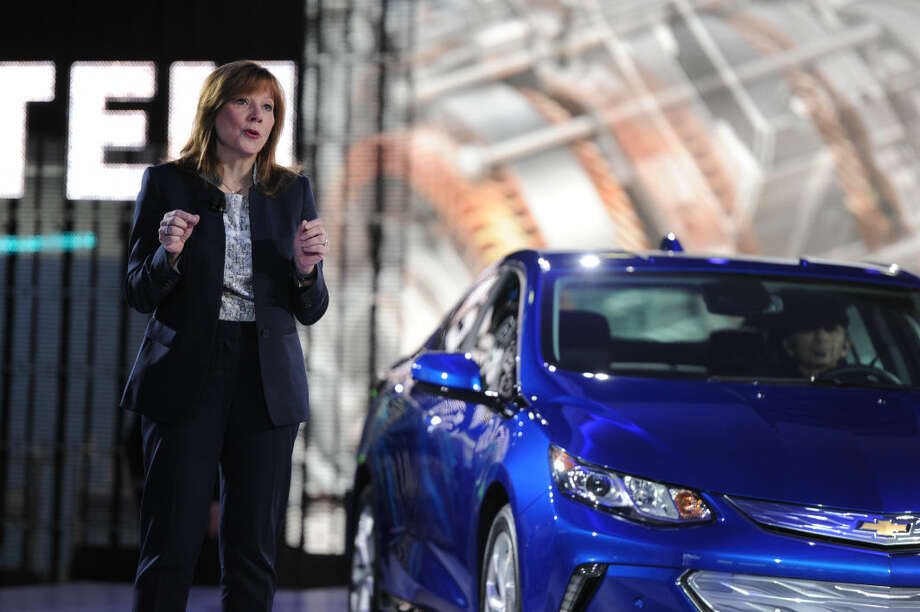 Chief Executive Officer GM Mary Barra introduced the 2016 Chevrolet Volt at the North American International Auto Show in Cobo Center in Downtown Detroit Monday Jan. 12, 2015. (AP Photo/The Grand Rapids Press, Tanya Moutzalia)