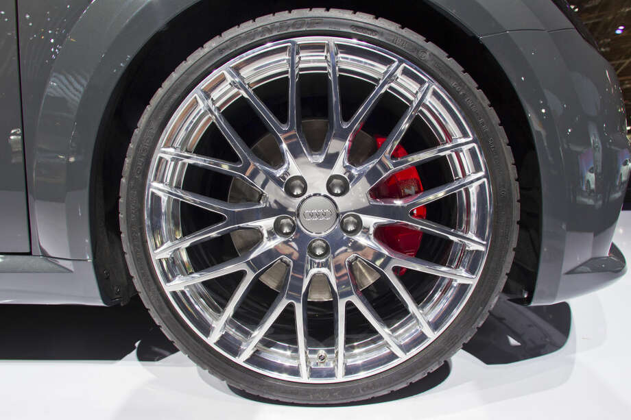A wheel of an Audi TTS, with chrome finish, on display at the North American International Auto Show, Monday, Jan. 12, 2015, in Detroit. (AP Photo/Tony Ding)