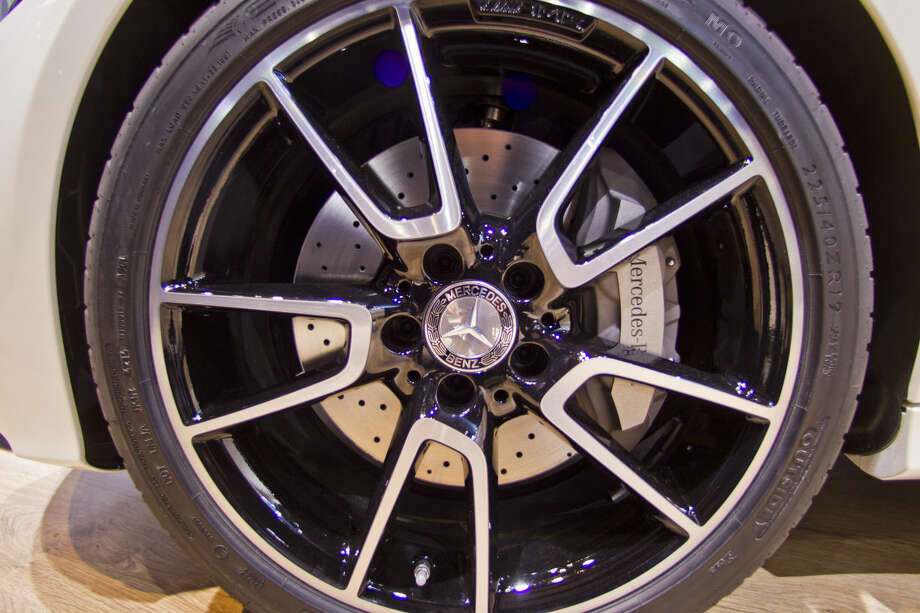 The wheel of a Mercedes-Benz C450 AMG on display at the North American International Auto Show, Monday, Jan. 12, 2015, in Detroit. (AP Photo/Tony Ding)
