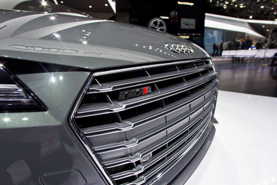 The front grill of an Audi TTS, on display at the North American International Auto Show, Monday, Jan. 12, 2015, in Detroit. (AP Photo/Tony Ding)