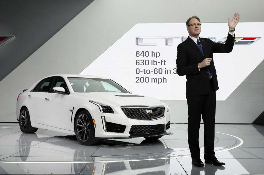 Cadillac president Johan de Nysschen introduces the 2016 CTS-V during media previews for the North American International Auto Show in Detroit, Tuesday, Jan. 13, 2015. (AP Photo/Paul Sancya)