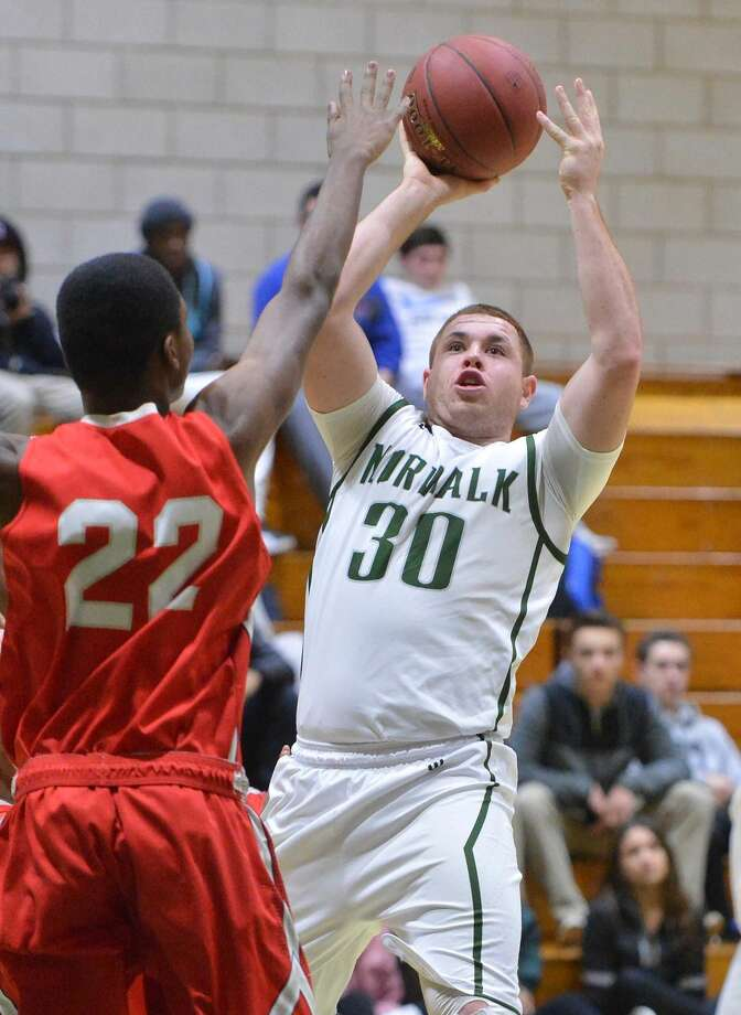 Hour Photo/Alex von Kleydorff. Norwalks #30 Eddie OHara vs Bridgeport Central