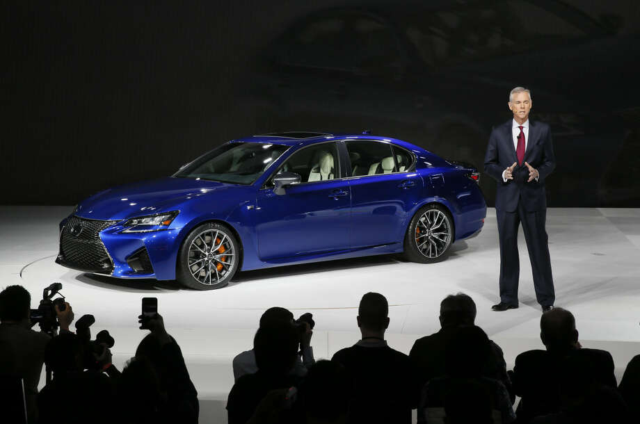 Jeff Bracken, Group Vice President and General Manager of Toyota's Lexus division, introduces the Lexus GS F during media previews for the North American International Auto Show in Detroit Tuesday, Jan. 13, 2015. (AP Photo/Paul Sancya)