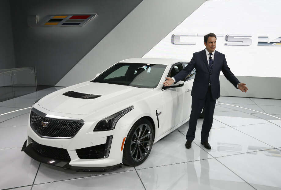 Mark Reuss, General Motors Executive Vice President, Global Product Development, introduces the 2016 Cadillac CTS-V during media previews for the North American International Auto Show in Detroit, Tuesday, Jan. 13, 2015. (AP Photo/Paul Sancya)