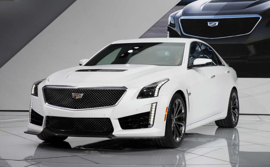 The 2016 Cadillac CTS-V debuts during media previews for the North American International Auto Show in Detroit, Tuesday, Jan. 13, 2015. (AP Photo/Paul Sancya)