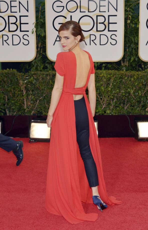 Emma Watson arrives at the 71st annual Golden Globe Awards at the Beverly Hilton Hotel on Sunday, Jan. 12, 2014, in Beverly Hills, Calif. (Photo by John Shearer/Invision/AP)