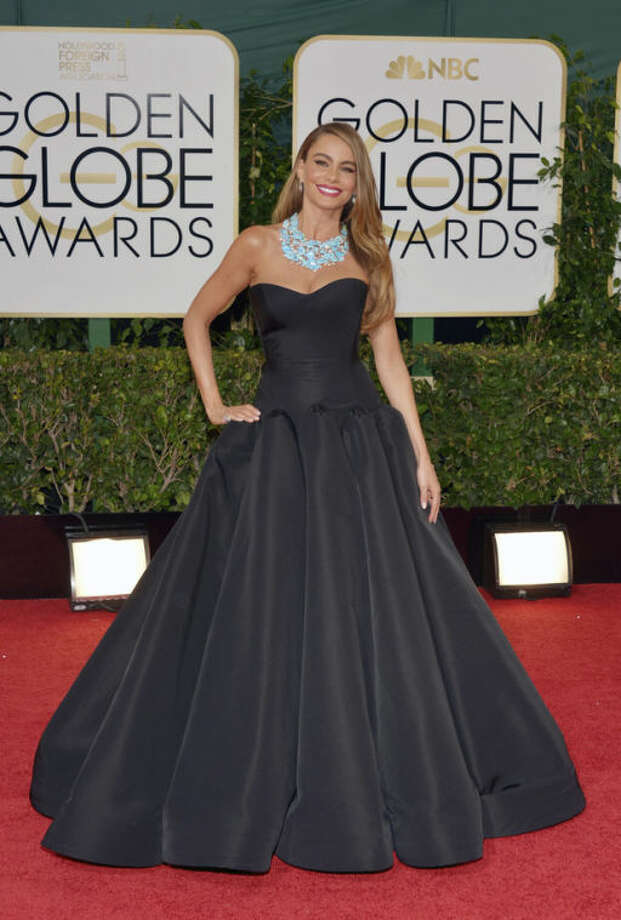 Sofia Vergara arrives at the 71st annual Golden Globe Awards at the Beverly Hilton Hotel on Sunday, Jan. 12, 2014, in Beverly Hills, Calif. (Photo by John Shearer/Invision/AP)
