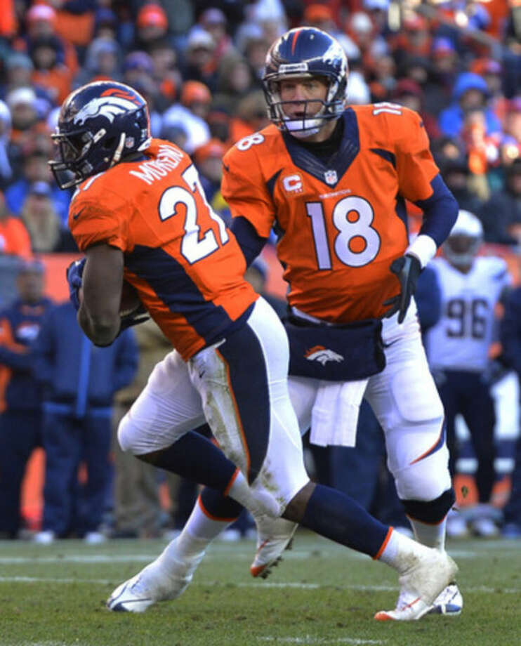 Denver Broncos quarterback Peyton Manning hand the ball off to running back Knowshon Moreno (27) in the second quarter of an NFL AFC division playoff football game, Sunday, Jan. 12, 2014, in Denver. (AP Photo/Jack Dempsey)