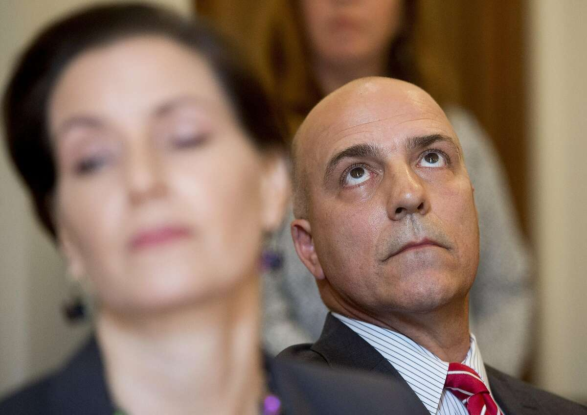 Interim Oakland Police Chief Ben Fairow listens during a press conference with Mayor Libby Schaaf, left, on Friday, June 10, 2016, in Oakland.