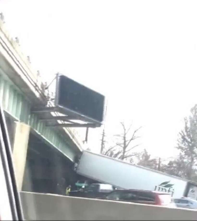 Hour photo/Yasna ConejerosConnecticut State Police are reporting that at 11:43 a.m. Friday a tractor-trailer crashed into a bridge abutment on I-95 northbound between exits 18 and 19 in Westport.