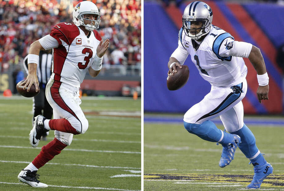 FILE - At left, in Nov. 29, 2015, file photo, Arizona Cardinals quarterback Carson Palmer (3) runs for a touchdown against the San Francisco 49ers during the second half of an NFL football game in Santa Clara, Calif. At right, in a Dec. 20, 2015, file photo, Carolina Panthers' Cam Newton (1) plays during the second half of an NFL football game against the New York Giants, in East Rutherford, N.J. Arizona and Carolina play in the NFC Championship game on Sunday, Jan. 24, in Charlotte, N.C. (AP Photo/File)