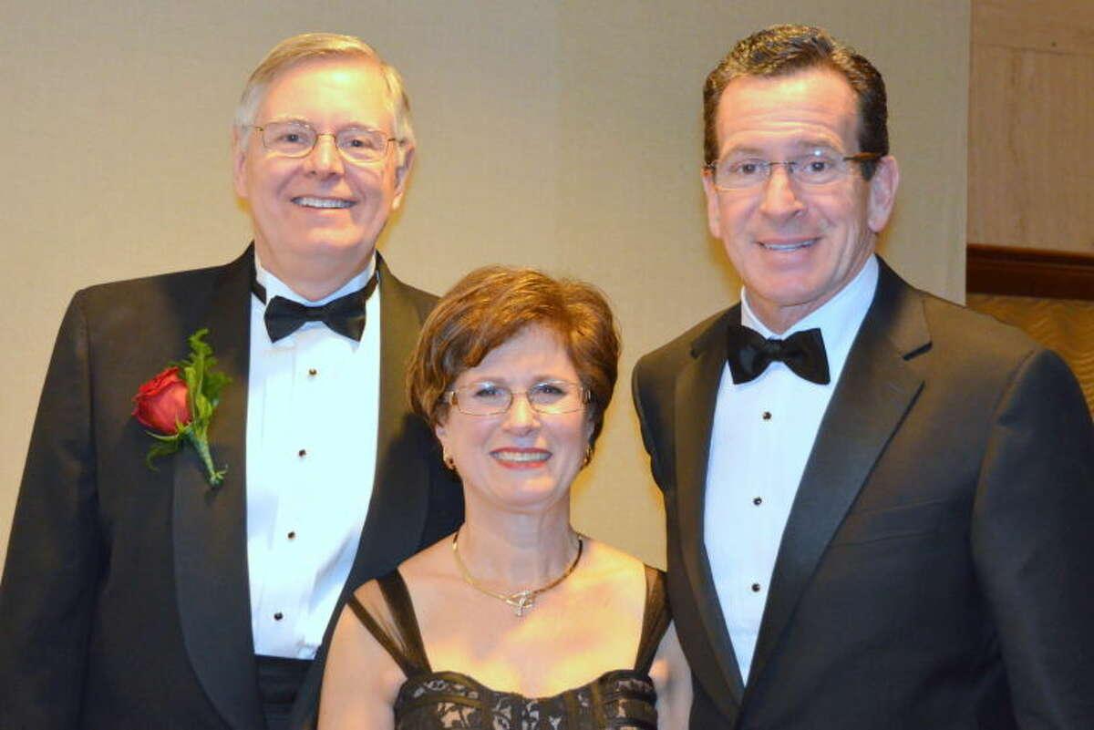 Mayor David Martin, his wife Judy and Gov. Dannel P. Malloy.